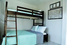 The bunk bed room with a twin and full bed.