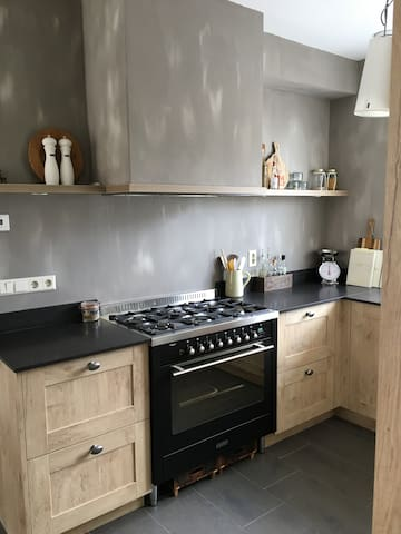 Kitchen with five burner stove