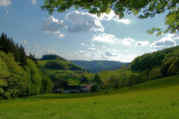 Very quiet and cosy apartment in the Sauerland region with marvellous view