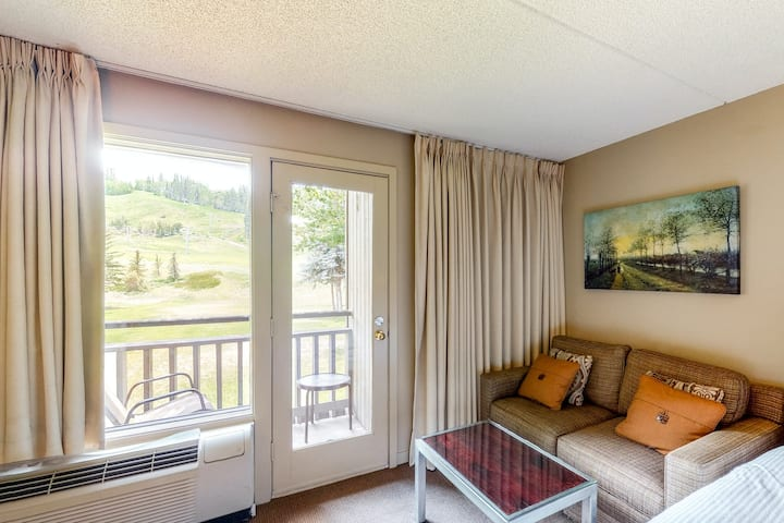 Ski-in/out room on bus route w/mountain views, shared hot tub, pool, & gym