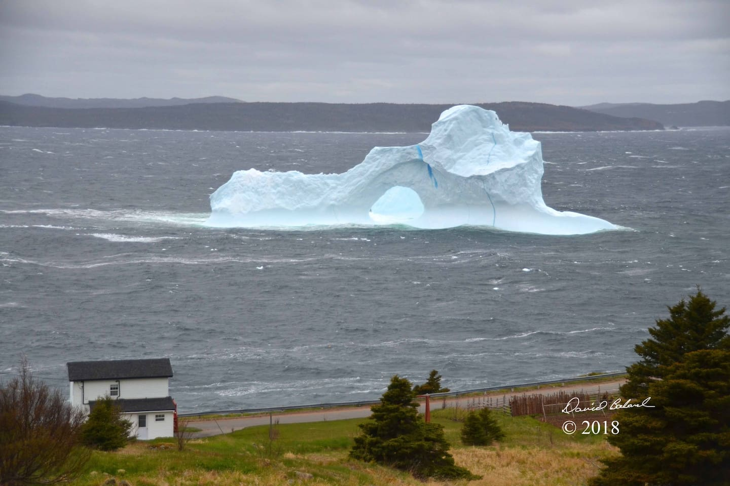 This photo is from June 4, 2018. My house is the bottom left, closest to the ocean. WHAT an iceberg!