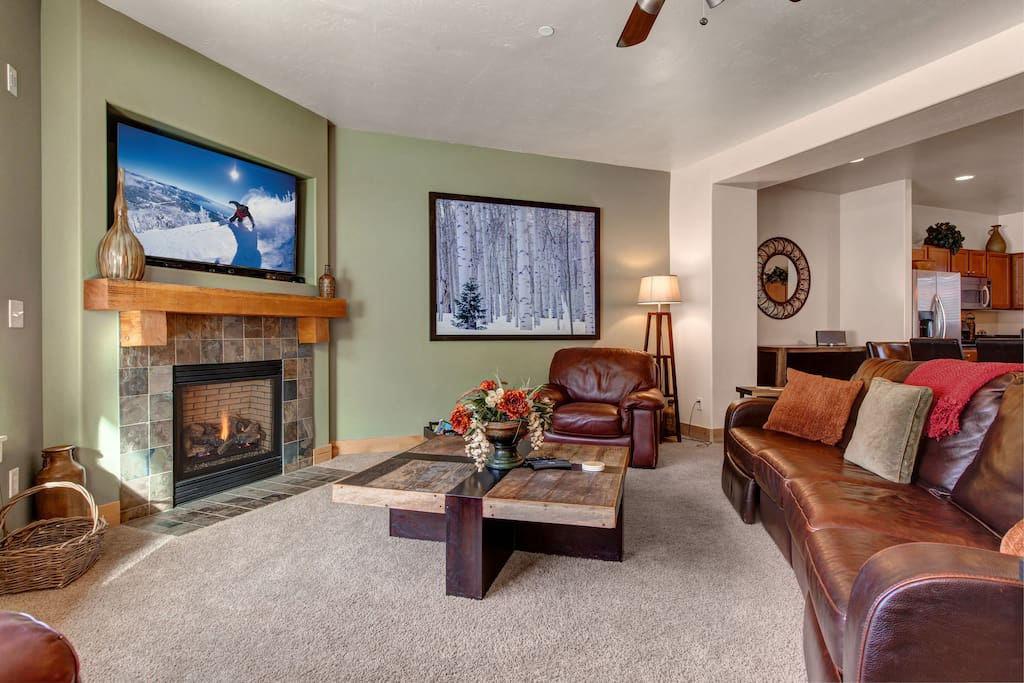 Main Living Area with Gas Fireplace, Large HD TV, Plenty of Seating