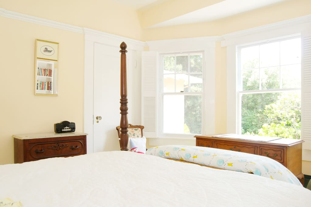 Private bedroom with queen bed, great sunlight and garden views.
