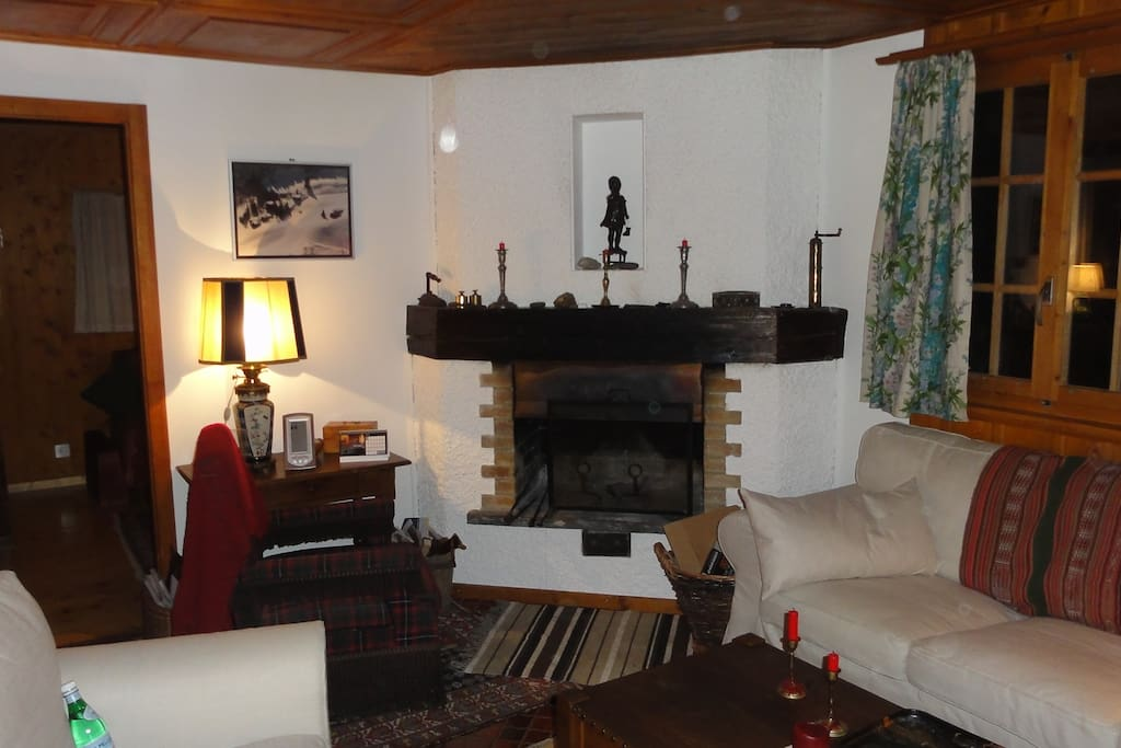 The wood fireplace will warm you up when you return from a day of skiing!