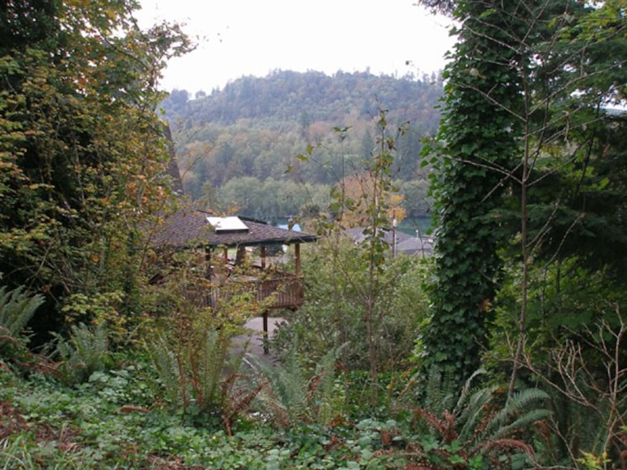 View from rear of property, highlighting garden, covered deck, and lake across the street