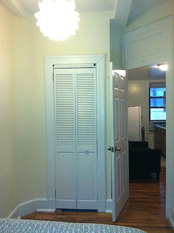 The bedroom has a closet and a dresser for you to unpack and make yourself at home.