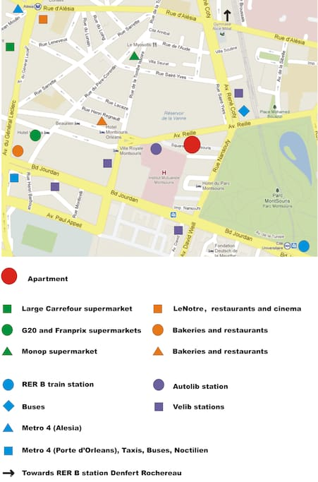 Great transportation (blue/purple) and many stores/restaurants (green/orange points)