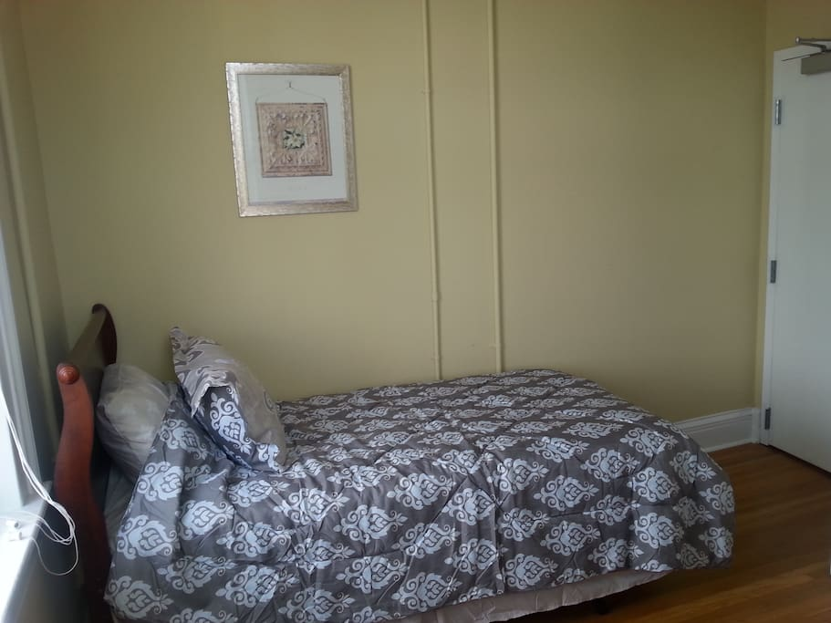 The twin (single) bed is ready for you to sleep in. Note a second guest would need to sleep on an air mattress.