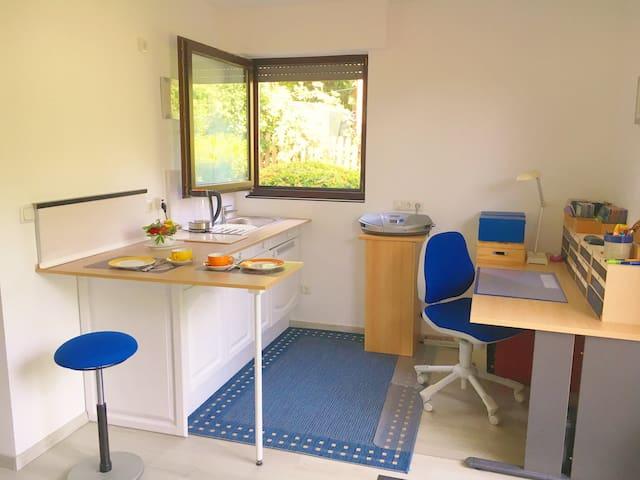 Küchenzeile, komplett ausgestattet mit Toaster, Wasserkoche, 2 Kochfeldern, Küchenutensilen. (eigener Kühlschrank vorhanden) Arbeitsplatz mit ergonomischem Schreibtischtuhl, Schreibtischlampe etc