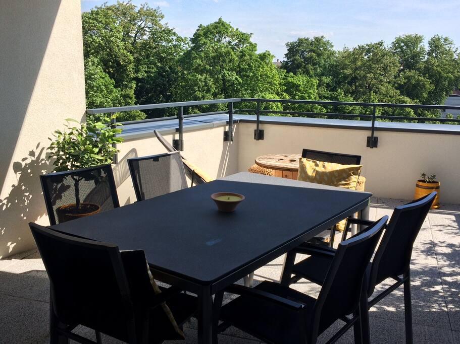 Enjoy a meal on the terrace