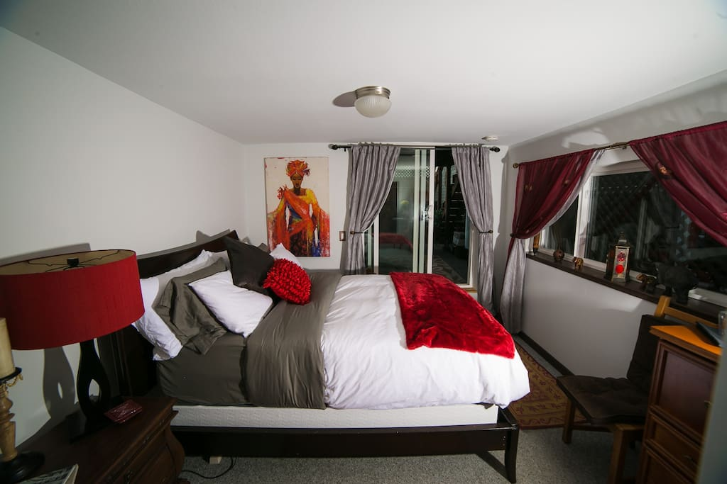 Bedroom with Memory Foam Mattress Pad  and Down Pillows