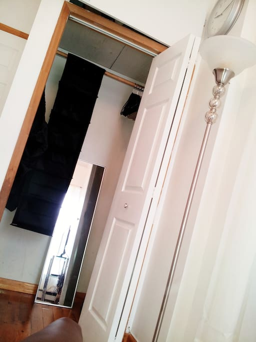 Full length mirror, laundry bag, and closet organizer so you won't be forced to live 'out of bags'!
