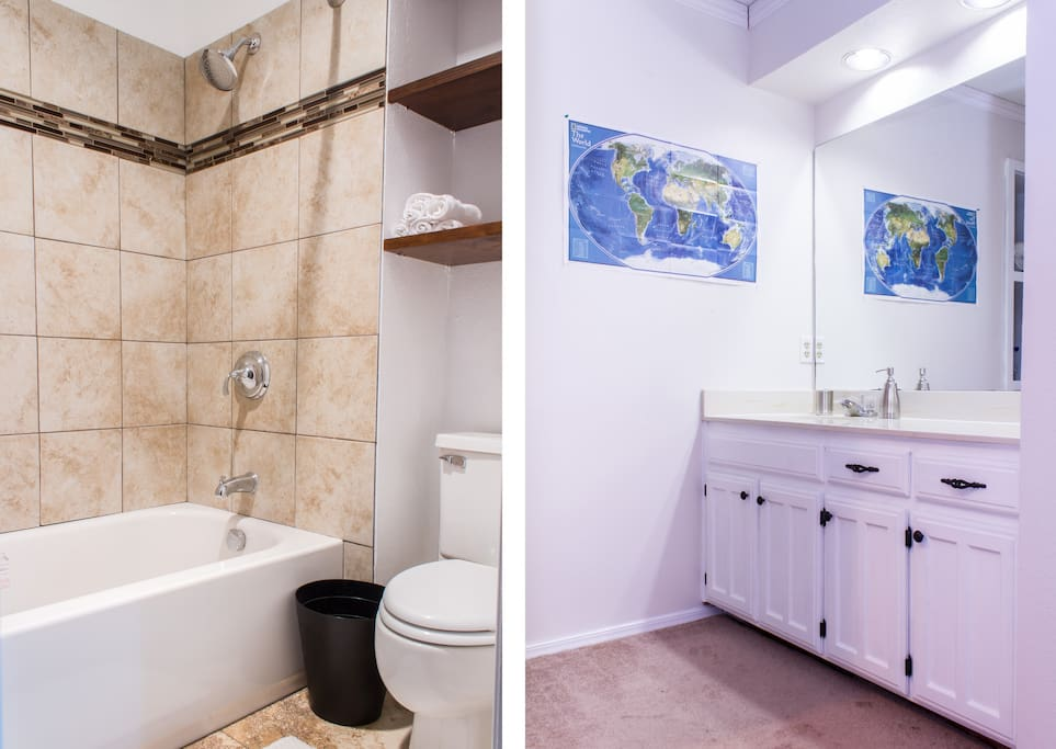 Newly reovated wet room on the left, and the dressing area shown on the right.