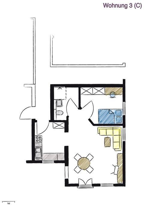 Grundriss No.3 mit Wohn-Essbereich, Schlafen, Kochen und Bad