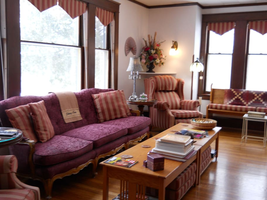 This is the living room for guests to enjoy, read and visit.