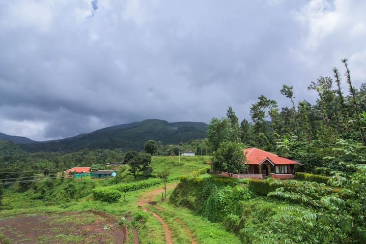 Homestay with pvt. waterfall, hill view & 2 meals