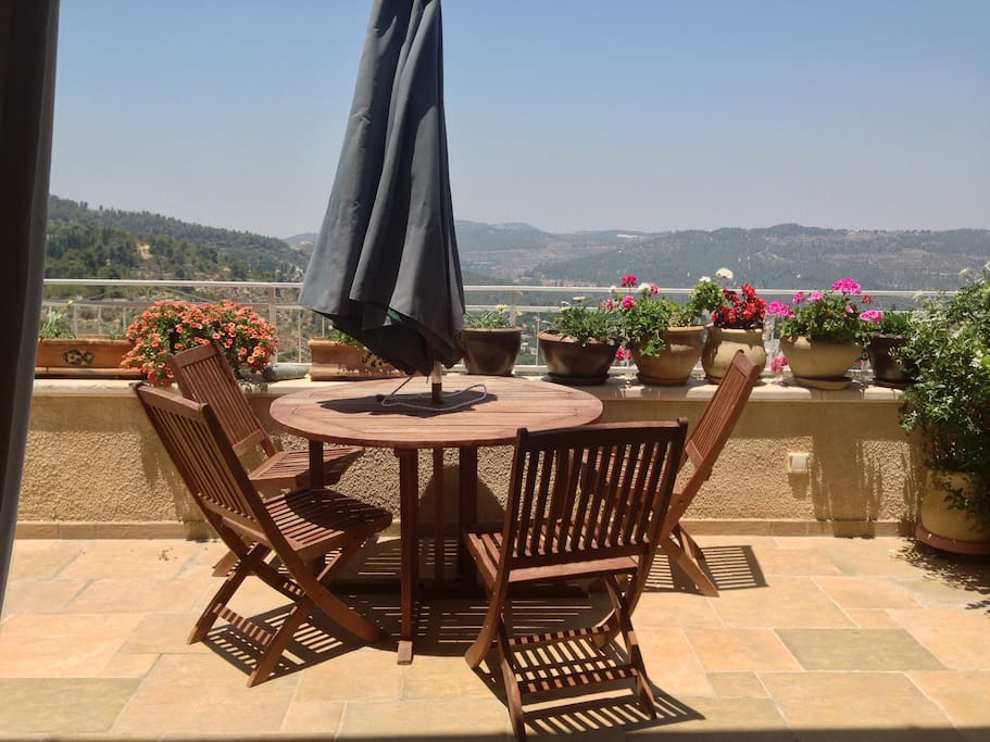 patio with the best view of Ein Kerem and Jerusalem hills