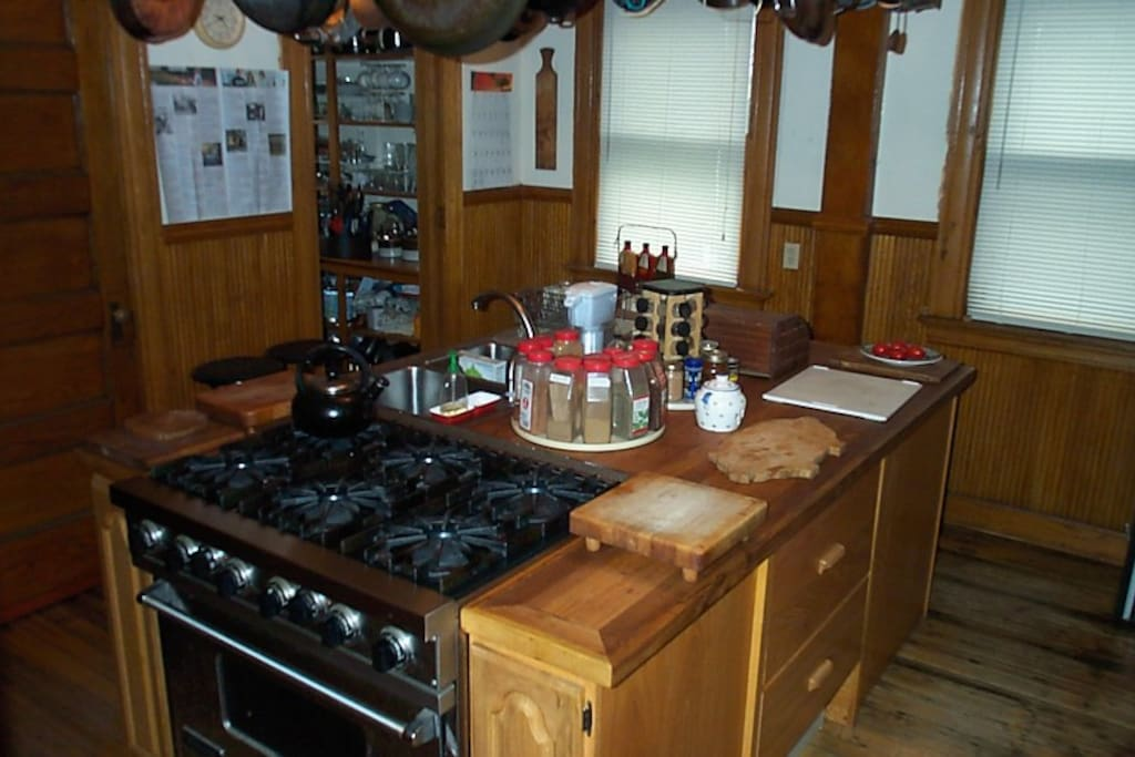 Kitchen island with 6 burner gas stove, under-counter refrigerator & freezer, dishwasher & double sink.