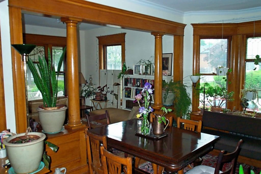 View of the dining room and one of the living rooms