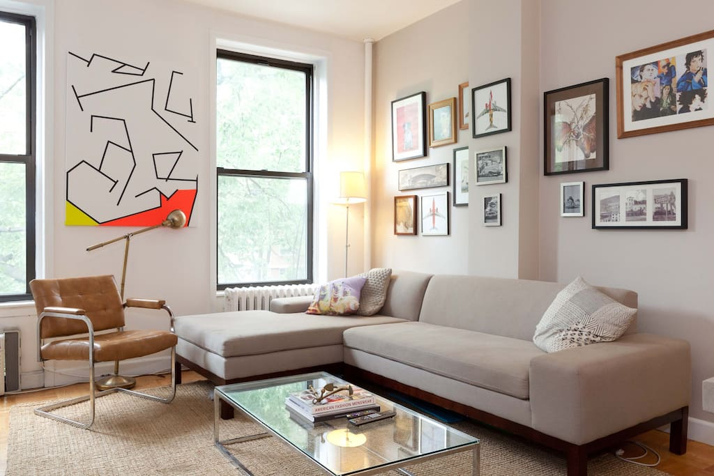 L-shaped sofa (great for napping on)