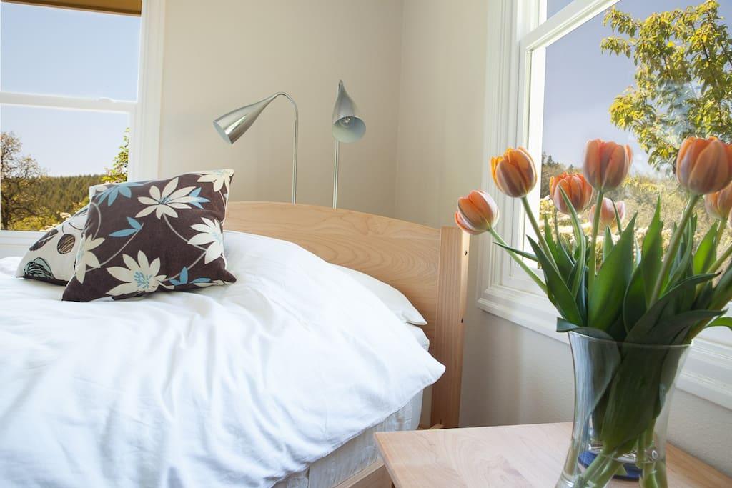 Modern, locally-made furniture with organic, USA-made bedding.