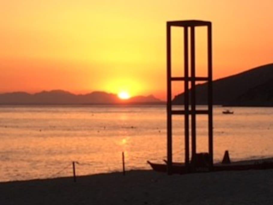 Tramonto spiaggia Geremeas