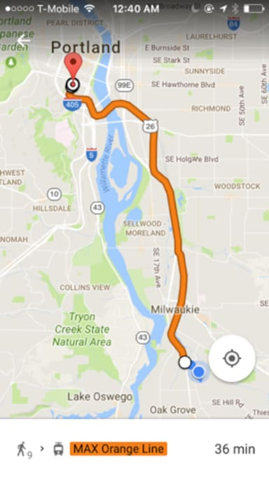 Public transit travel time is...5-10 min walk to train station and 25 minutes to downtown Portland at PSU.