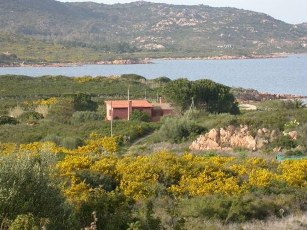 Vista della casa e della baia dalla collina.