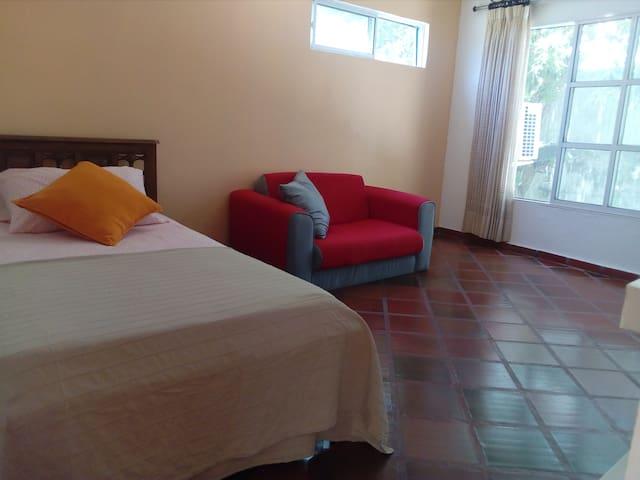 Habitación con cama y sofá cama.