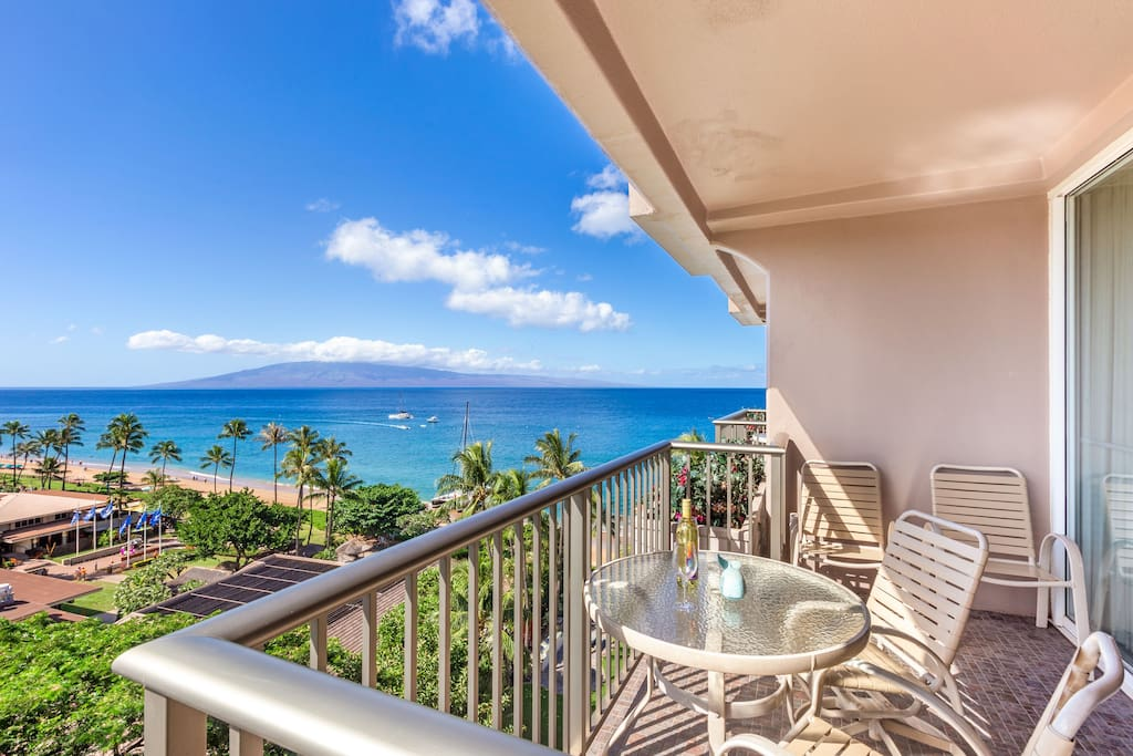 Incredible views from the 9th floor to the ocean and island of Lanai.