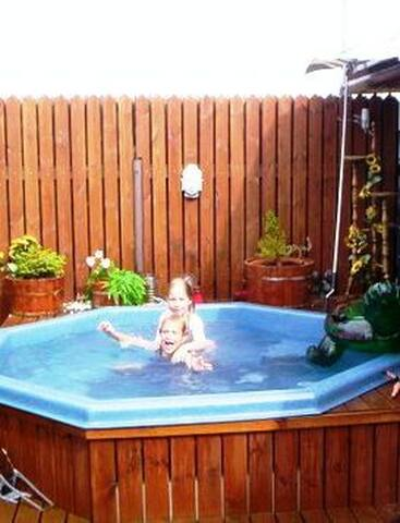 Hot tub in the garden of Njardvik Guesthouse for visitors to use. If you want to use the hot tub, please let us know in 3-4 hours advance. :)