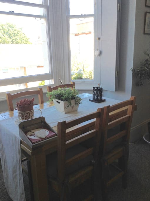Dining Table in Sitting Room Bay Window