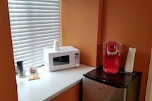 Microwave, coffee maker and refrigerator for your continence