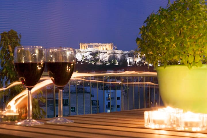 "NEW!!Acropolis view..Athens 360""..2min from Metro! - Athens - Apartment"