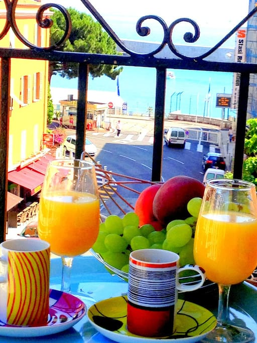 breakfast on the terrace with a sea view