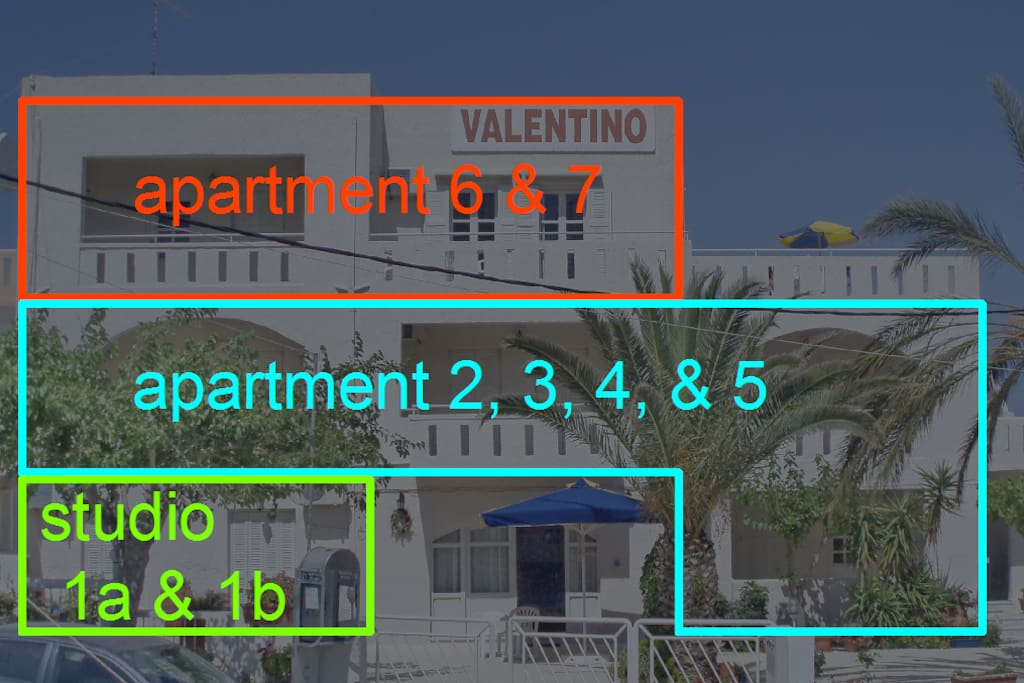 front view with apartment & studio numbers