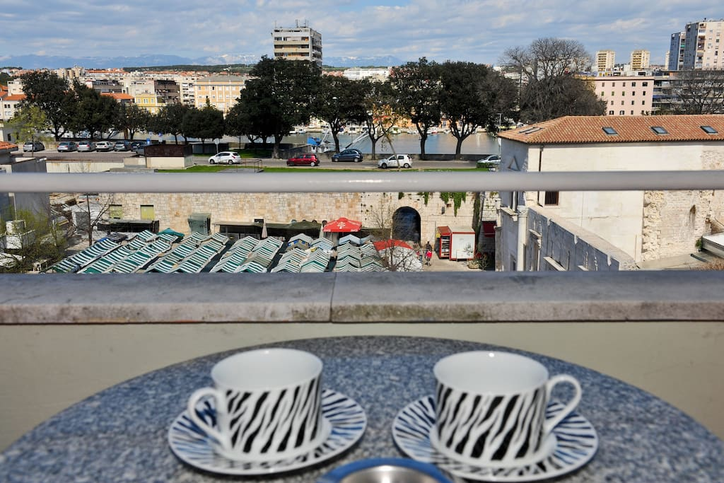 With the morning sun and coffee on the balcony