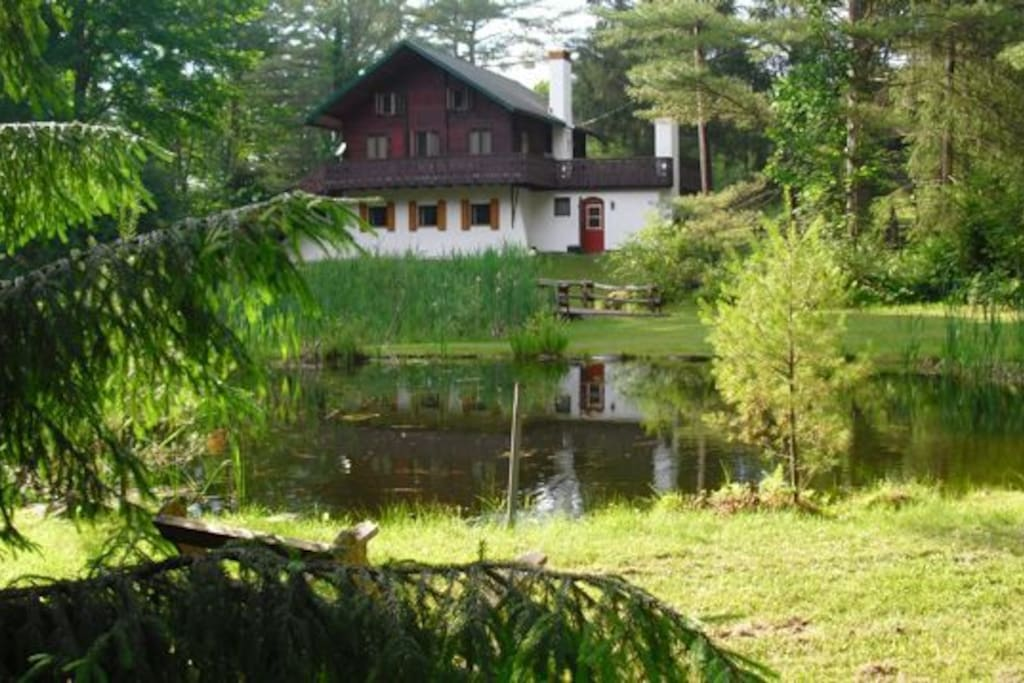 View of the back-side house from the creek, onto the pond and wrap-around balcony