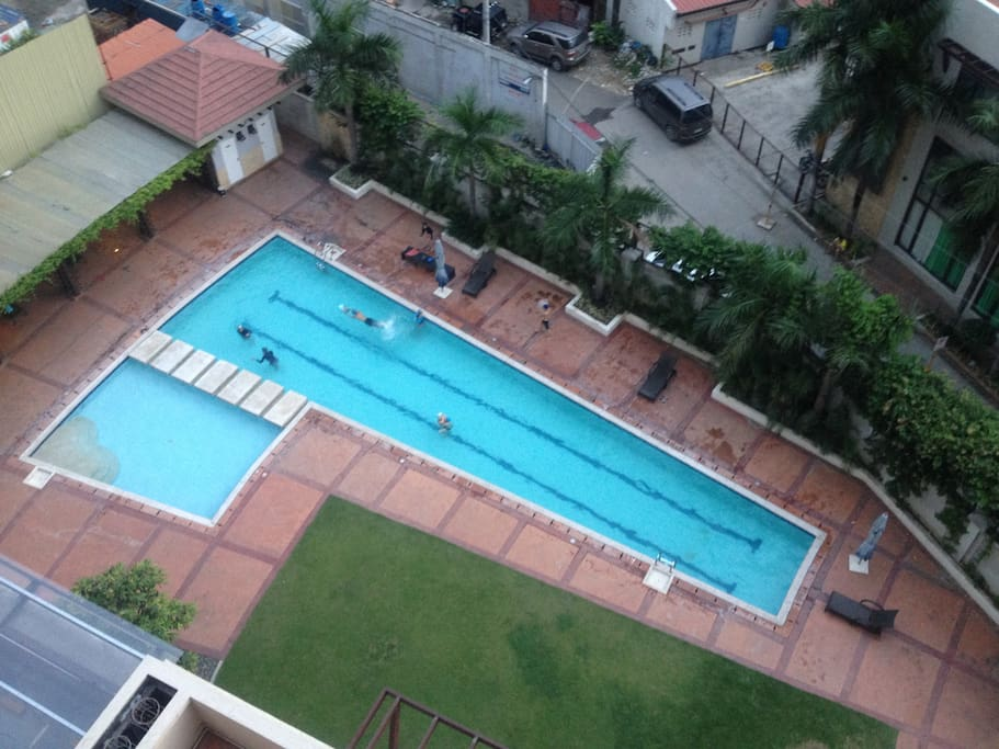 View of the swimming pool from the window