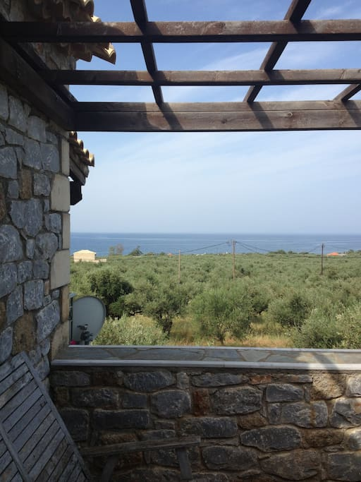 View from main bedroom.olive groves and sea view