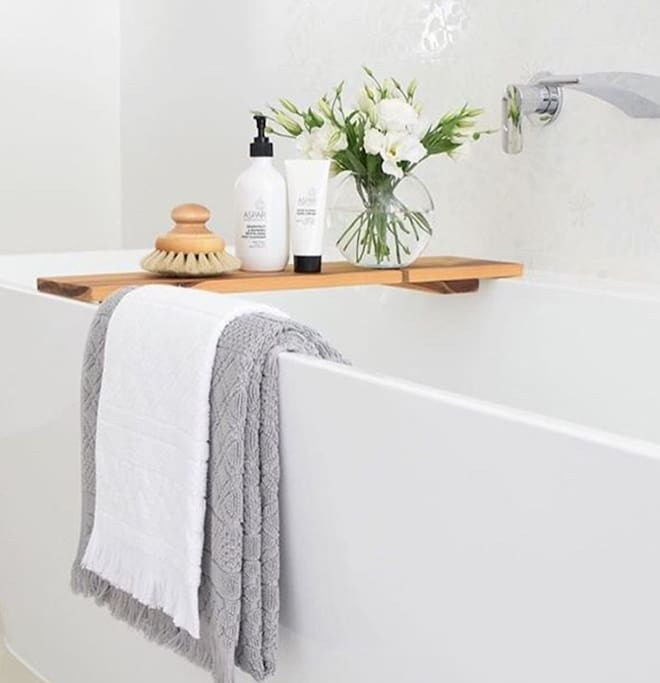 "The Bath Tub is deep - great for a Spa Indulgent soak.  We also will leave you a Spa Amenities Pack for ""every"" Guest on arrival."