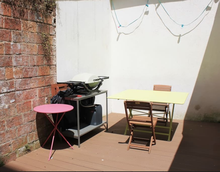 Family home in downtown Paris.  Nice and quiet backyard, a true luxury in downtown Paris. Table is comfortable for 8 pax, more tables and chairs are available. Weber barbecue.