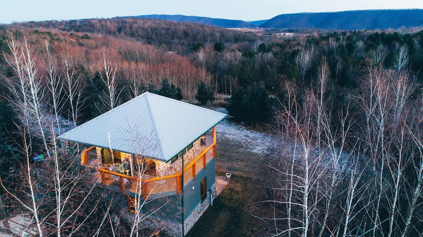 Modern firetower chalet with majestic views