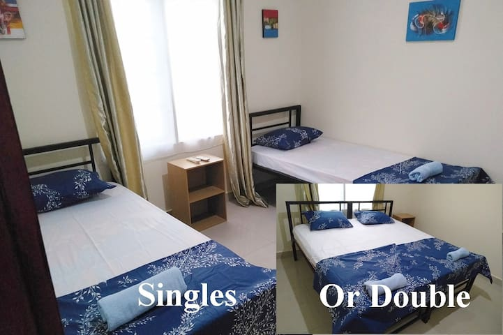 Choose from double or single bed in some rooms.  Our beds have been specially made to be able to combine them into doubles.
