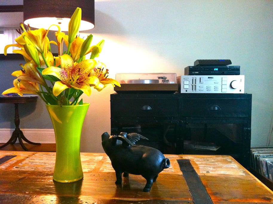 Our record player & stack of records.