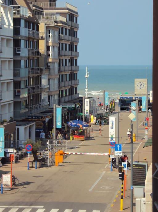 Zijdelings zeezicht vanop het terras Vue latérale sur mer à partir de la terrasse Sea side view