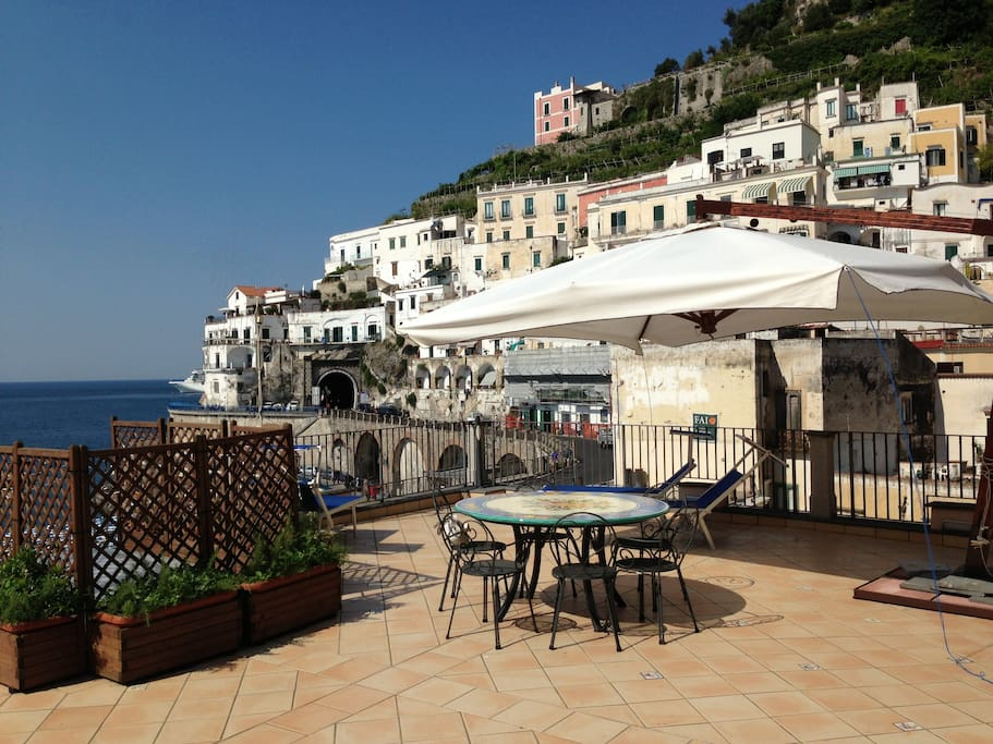 Large terrace overlooking the sea