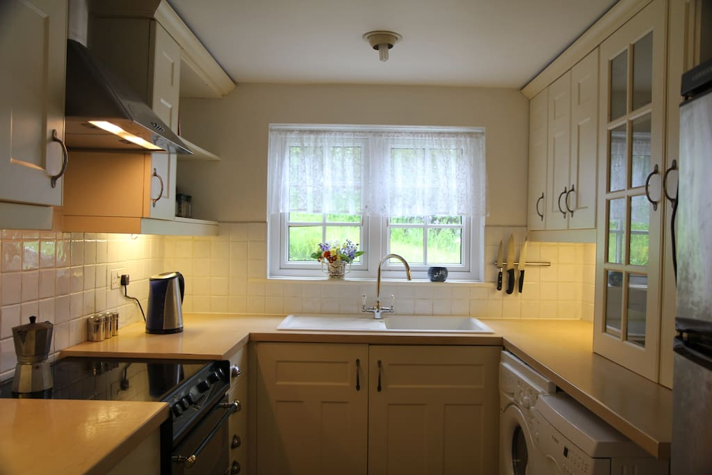 Modern kitchen with all you need for preparing meals from delicious Cornish local produce