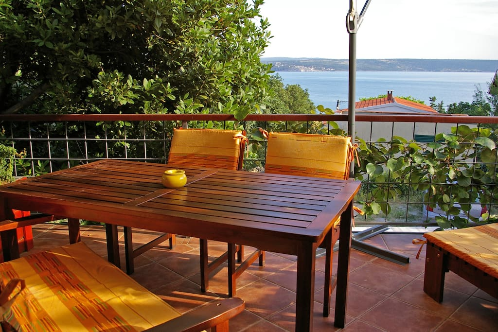 Terrace is private and shaded and with a beautiful sea view
