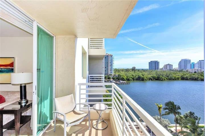 Central Water view Condo- Steps from Beach & Mall